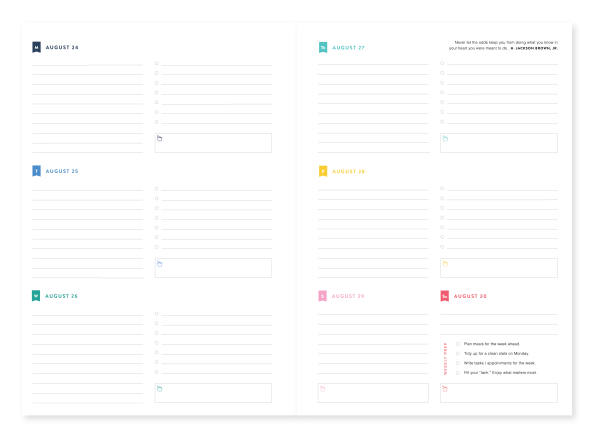 Simplified Planner Weekly Page