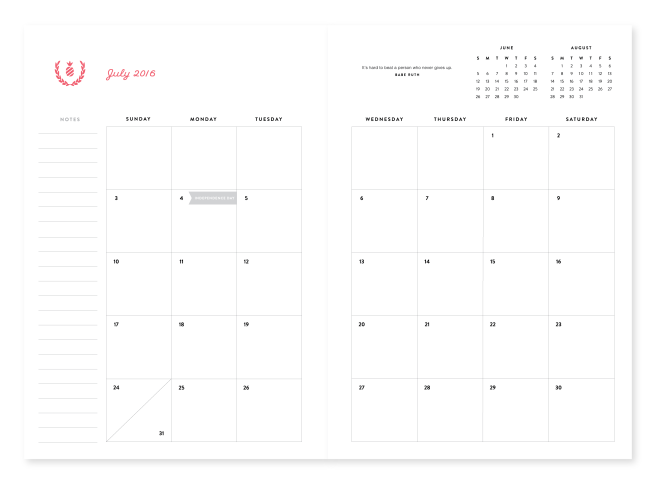 Simplified Planner Monthly Pages