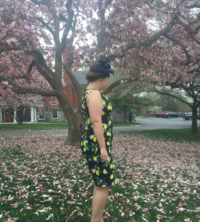Side view of Lemon print dress